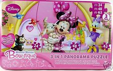 Disney Minnie Mouse Girls Puzzle 3 in 1 Panorama Floor Set Pink Storage Tin New