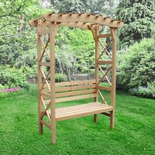 ALEKO Outdoor Wooden Garden Arbor with Leisure Bench and Trellis Sides