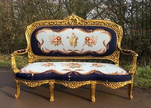 French Louis XV style Gold Sofa, Shabby Chic Gilt Sofa, Old Vintage Salon Settee