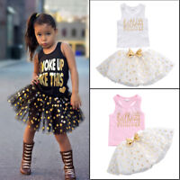 Polka Dots Girls Outfit Sleeveless Top Tutu Skirt Birthday Party Kids Clothes