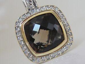 $1575 DAVID YURMAN 18K GOLD SS ALBION SMOKY QUARTZ DIAMOND ENHANCER
