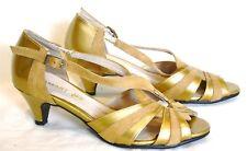 Damart Gold Strappy Peep Toe Closed Heel sandals Leather Size 3 (36) Kitten Heel