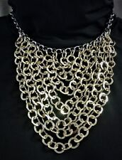 """NWT Hannah Bib Necklace - Eight Shiny Gold, Large Link Cable Chains, 16.25"""" Long"""