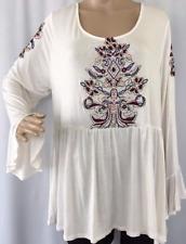 Top 2X Plus Eyeshadow $49 NWT Cream Ivory Boho Tunic Peasant Embroidery MC365