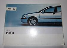 Genuine Volvo S40/V40 Owners Handbook