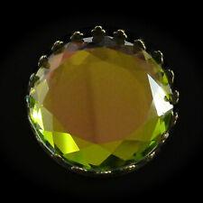 Broche RONDE STRASS verte vert mordoré reflet mulicolore changeante brillante