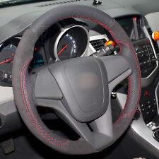 Black Genuine Leather Black Suede Steering Wheel Hand-stitch For Chevrolet Cruze
