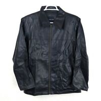 MAURICE RICARD Womens L Black Faux Leather Long Zip Up Jacket Coat