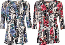 Stretch Floral Polyester Tops & Shirts Plus Size for Women