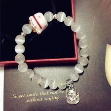 Fashion Women Porcelain Natural Bead Bracelet Lucky Cat Ceramic Bangle Jewelry