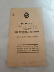 Vintage The Automobile Association (AA) Route Planner Cardiff to Southampton