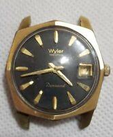 Vintage Wyler Incaflex Dynawind Swiss Made Automatic Black Dial Men's Watch