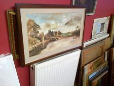 Fine,English Framed Oil on Board.Thames at Walton Bridge View. J.M.W Turner.