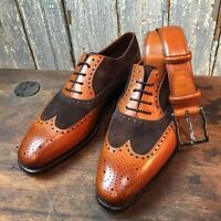Handmade Men Two Tone Formal Shoes, Mens Brown And Tan Wingtip Brogue Shoes