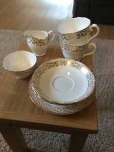 Adderley White And Gold Tea Set