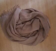 Crimped Crinkle Maxi Scarf Hijab Shawl Wrap Soft Cotton Mix Frayed Edges