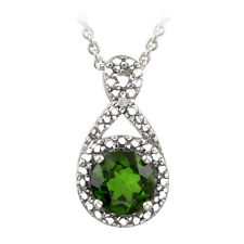 925 Silver Chrome Diopside Diamond Accent Infinity Necklace, 18""