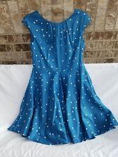 BODEN Blue White Polka Dot Cotton Dress Lined Size UK 10P • US 6P