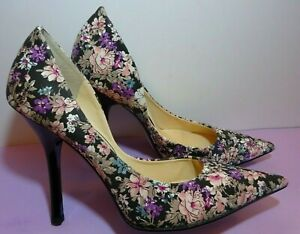 GUESS CARRIE BLK/MULTI Fabric Pumps Size 9M Stiletto High Heels.