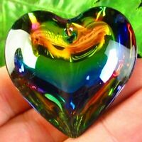 44x43x14mm Rainbow Titanium Crystal Heart Pendant Bead S51519