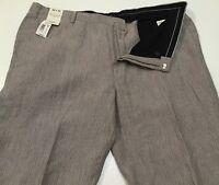 MURANO Mens Linen Baird McNutt Brown Striped Pants Flat Front Sz 34,36 38 42 NWT
