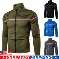 Men's Sweatershirt Winter Warm Thicken Zipper Pullover Sweater Casual Coat US