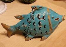 Fisch Metall Windlicht Blau Maritim Deko - Fischfigur /20x6x14 / Tierfigur
