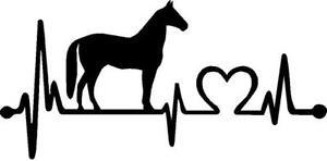 Horse heartbeat vinyl decal/sticker cute love country horseback riding