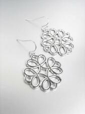 CLASSIC Lightweight Artisanal Silver Etched Scroll Filigree Dangle Earrings ER49