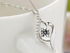 Damen Halskette mit Anhänger 925 Silber Pl Zirkonia Kristall Hochzeit NEU 105