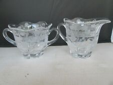 Creamer & Sugar Bowl Clear Glass w/ Etched Band & Poppies