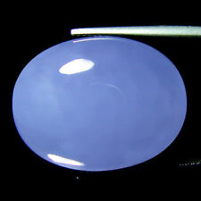 12x10mm OVAL CABOCHON-CUT LIGHT-BLUE NATURAL INDIAN CHALCEDONY GEMSTONE