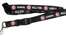 Alabama Crimson Tide Black Lanyard with Keychain Clip Roll Tide Logo
