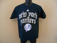 NEW New York NY Yankees YOUTH Medium M 10/12 NICE NAVY BLUE Adidas T-Shirt