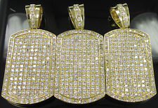 *2nd QLTY* NEW GOLD GP SIMULATED DIAMOND HIP HOP DOGTAG CHARM PENDANT REAL ICY!!