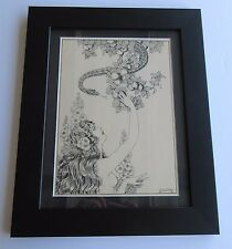 HILDA MASER ANTIQUE AMERICAN ART DECO NUDE GARDEN OF EVE SERPENT DRAWING SIGNED