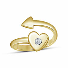 10k Yellow Gold Fn Diamond Heart Bypass Arrow Adjutable Toe Ring Foot jewelry
