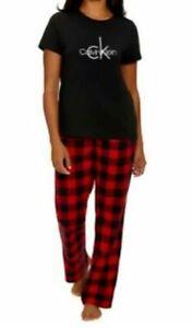 Calvin Klein Womens 2-Piece Sleepwear Pajama Set Red Checkered S Small EUC