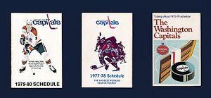 Washington Capitals vintage 1970's hockey schedule lot 6-different