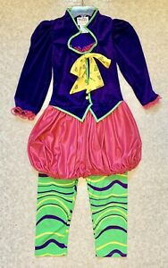 California Costume 'Mad Hatter' Size 10-12 Purple Velvet/Pink/Green  Top/Pants