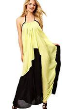 Abito lungo aperto Nudo aderente Trasparente Cerimonia Color Block Jersey Dress