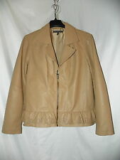 BACCINI FAUX LEATHER TAN LINED COAT  WITH RUFFLE SIZE XL