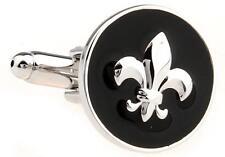 Fleur-de-lys Cufflinks Round Black Lily Wedding Fancy Gift Box Free Ship USA