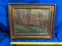 Antique Original Brown County,Indiana Nashville Oil Painting Gold Gilt Picture