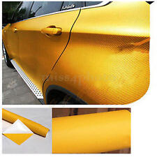 "50""x 12"" YELLOW Carbon Fiber Vinyl Wrap 3D 4D Stickers Car Interior Accessorie"