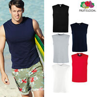 Fruit of the Loom Men Sleeveless Cotton Tank Top Gym/Training summer Vest S-5XL
