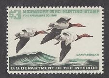 US Sc RW32 MLH. 1965 $3 Canvasback Drakes, Duck Hunting Permit Stamp