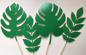 Dinosaur / jungle leaves Cake Toppers X 4 Large Toppers