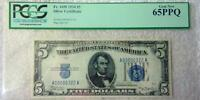 Fr. 1650 1934 $5 Silver Certificate PCGS 65PPQ Blue Seal Low Serial # 322