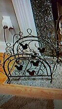 Disney Mickey Mouse Fireplace Log Holder wrought iron Mickey Heads Htf Rare